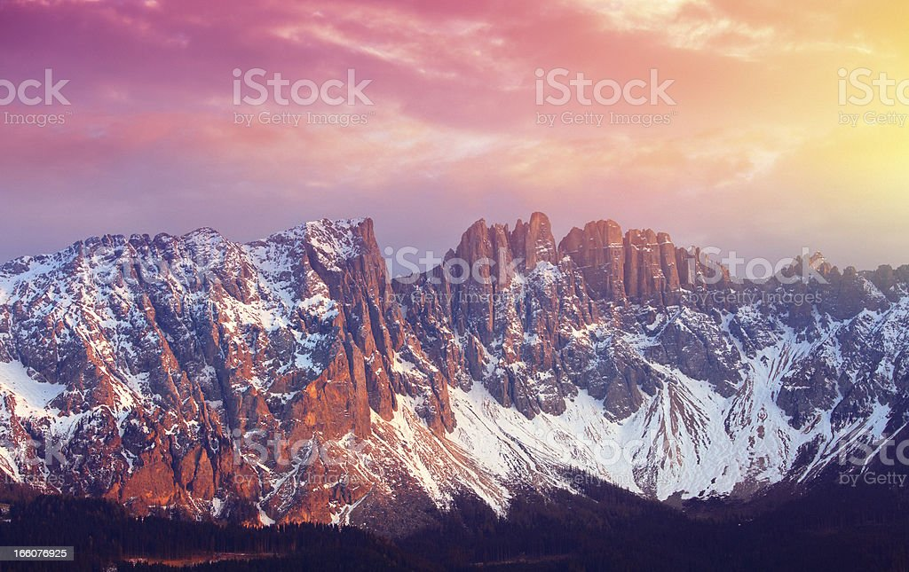 mountains at sunset stock photo
