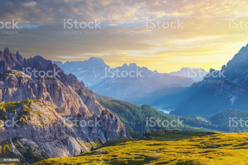 Mountains at sunset, view from Tre Cime, Dolomites, Italy stock photo