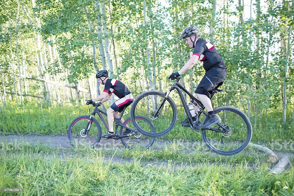 Mountains bikers royalty-free stock photo