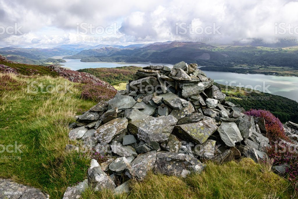 Mountains, Cairn and  River Mawddach,  Wales stock photo