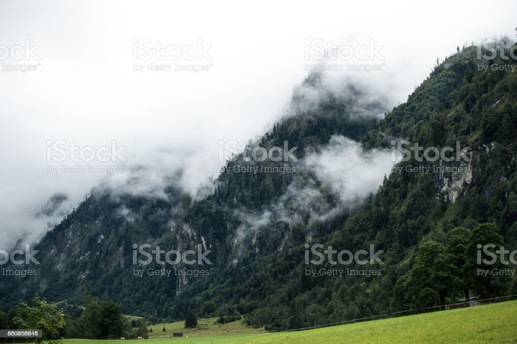 Mountains coverd in clouds stock photo