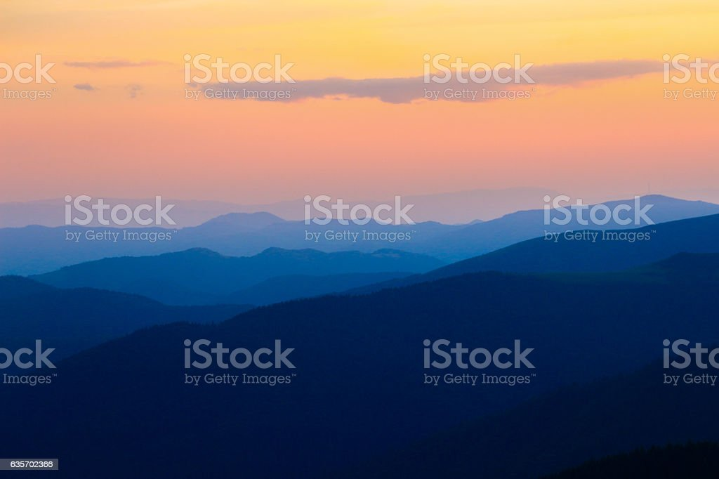 Mountains during the sunset royalty-free stock photo