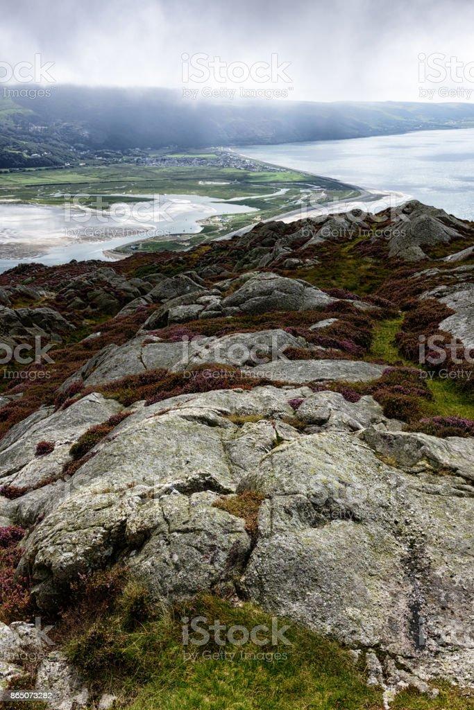 Mountains, estuary and coastline,  Barmouth, Wales stock photo