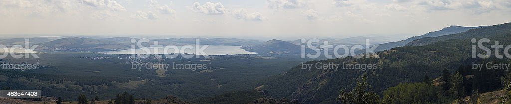 mountains, forests and lakes stock photo