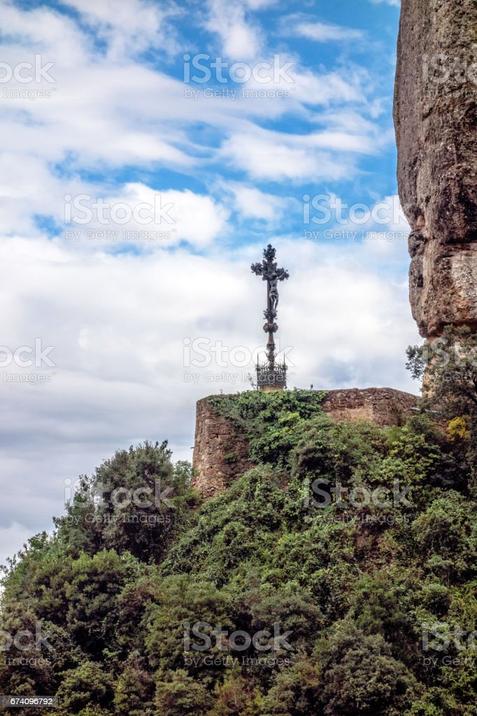 Mountains, from afar visible place, mounted cross. royalty-free stock photo