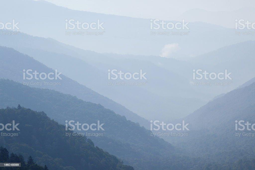 Mountains in a blue smokey haze royalty-free stock photo
