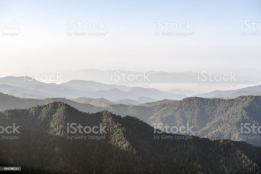 Mountains in Appalachia viewed from Mt. LeConte stock photo