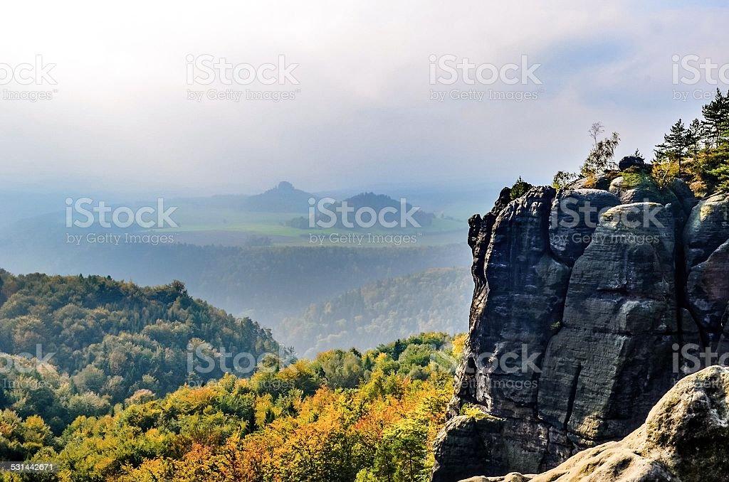 Mountains in autumn stock photo