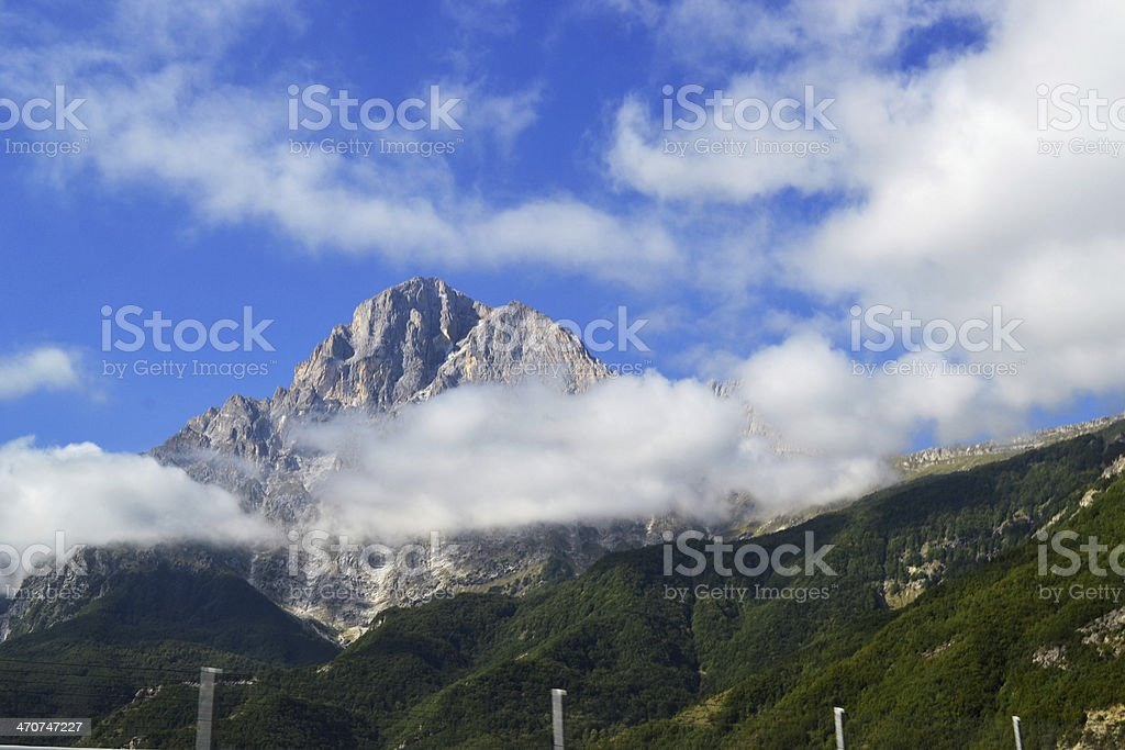 Mountains in clouds in Italy royalty-free stock photo