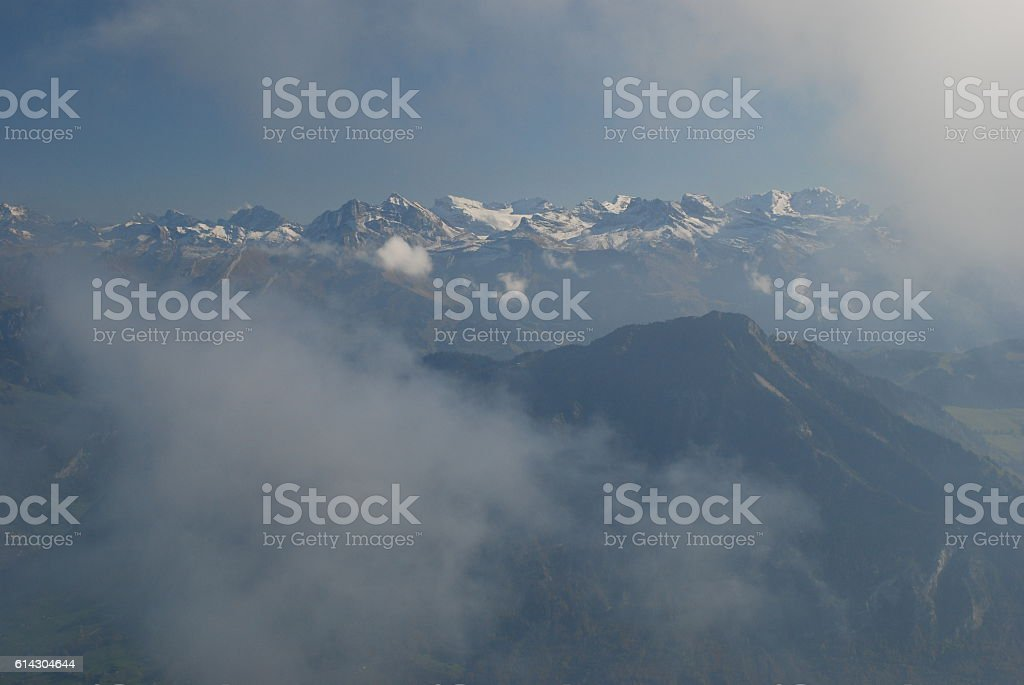Mountains in fog stock photo