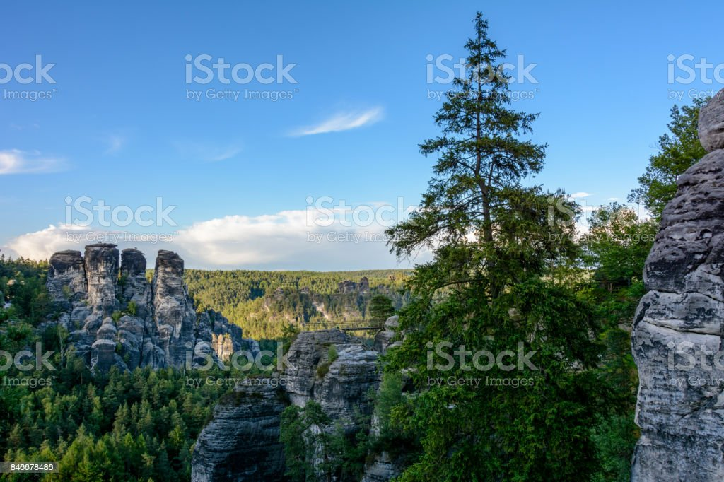 Mountains in Germany. Saxon Switzerland national park in Saxony stock photo
