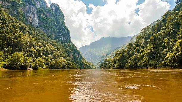 mountains in luang prabang, laos - mekong river stock pictures, royalty-free photos & images