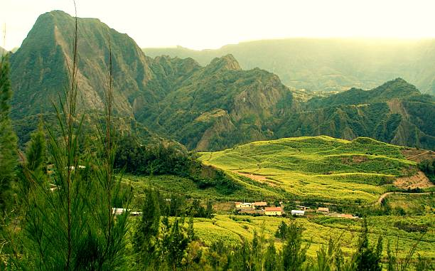 mountains in reunion island - reunion stock photos and pictures