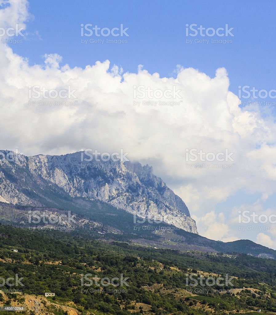 mountains in the clouds stock photo