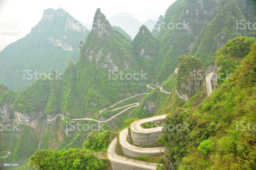 Mountains in Zhangjiajie, China. Cable Car View. stock photo