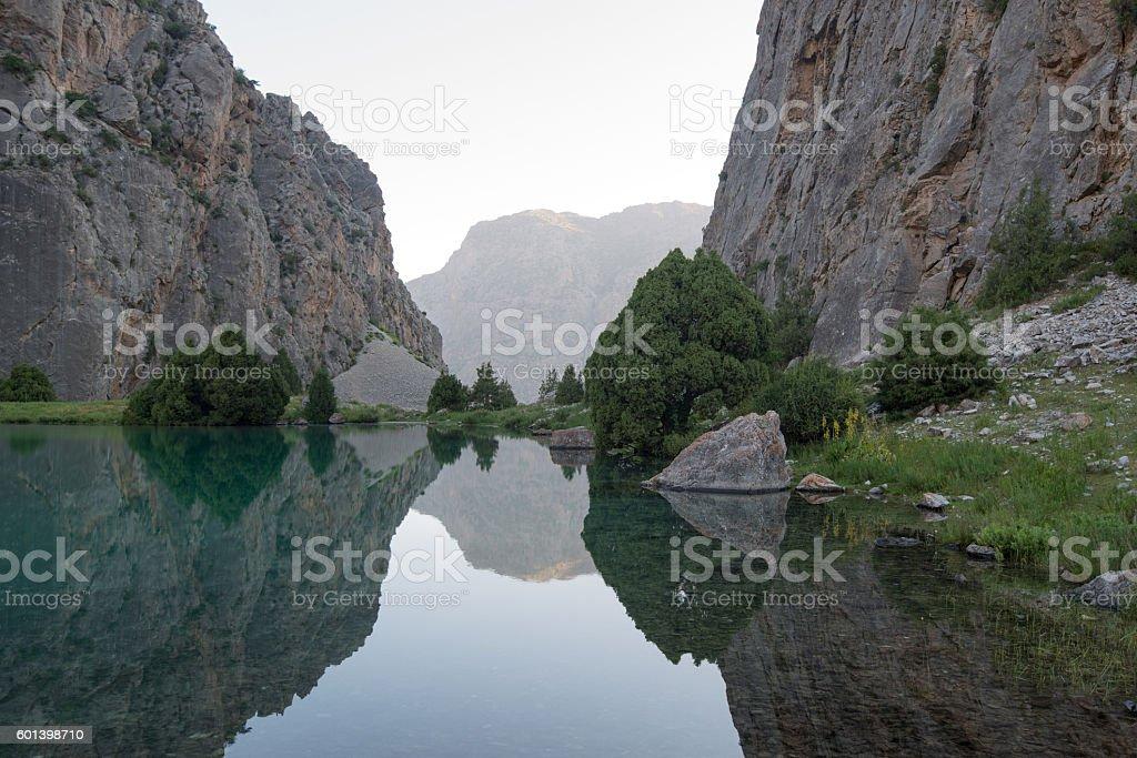 Mountains lake likes mirror stock photo