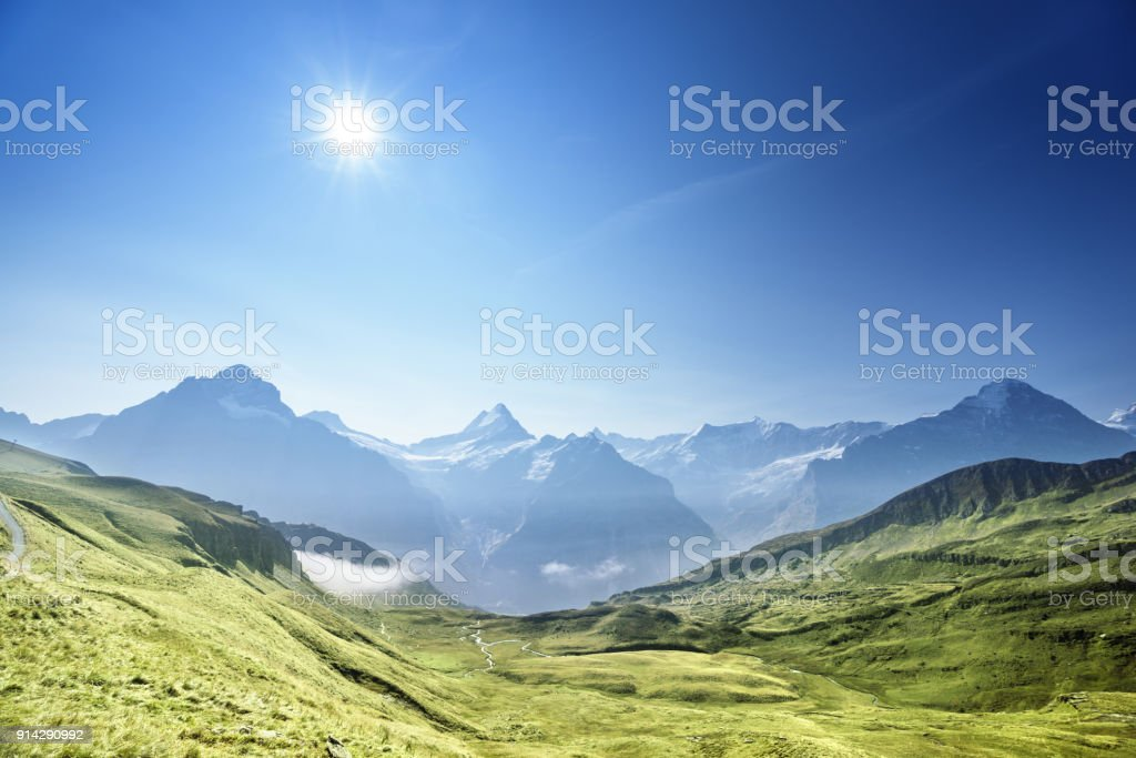 mountains landscape, Grindelwald First, Switzerland stock photo