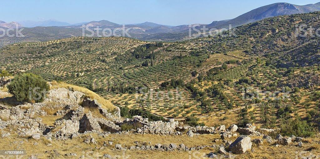 Mountains landscape in Mycenae, Greece stock photo
