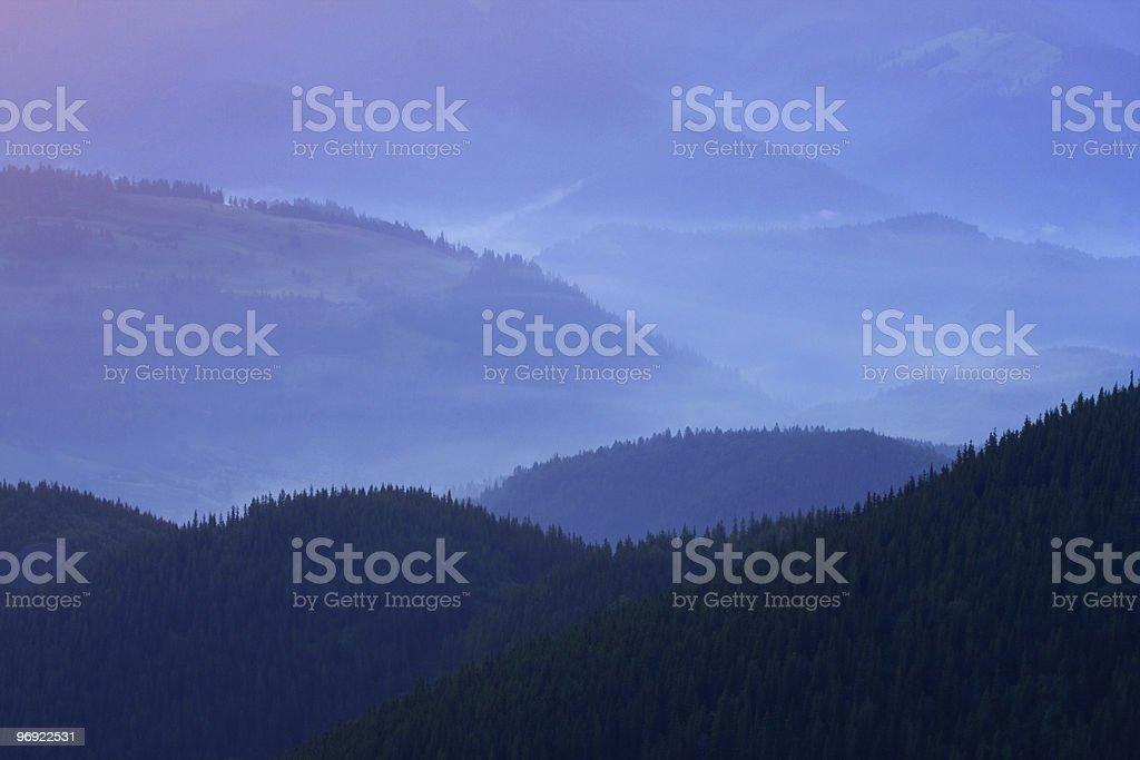Mountains landscape with fog royalty-free stock photo