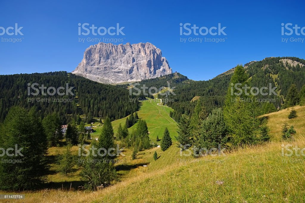 mountains Langkofel in Dolomites stock photo