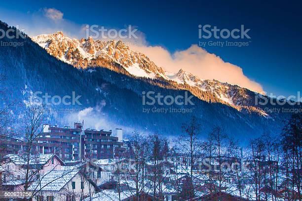 Photo of Mountains near Chamonix before sunset lightened with sun rays
