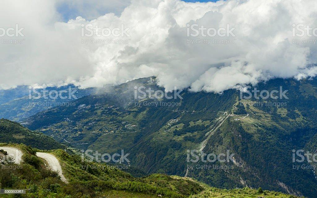 Mountains near Dirang, Arunachal Pradesh, India. stock photo