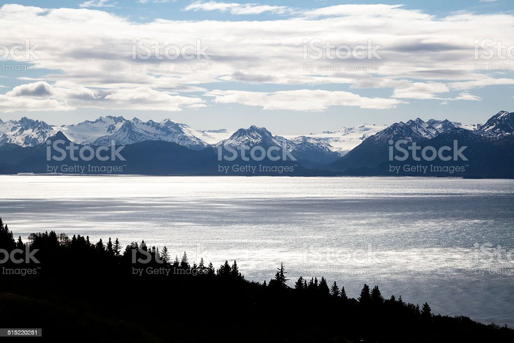 Mountains, Ocean, and Forest stock photo