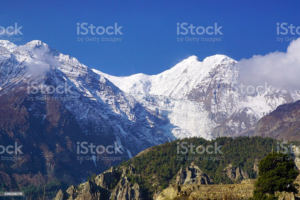 Mountains of Annapurna Himal on background blue sky royalty-free stock photo