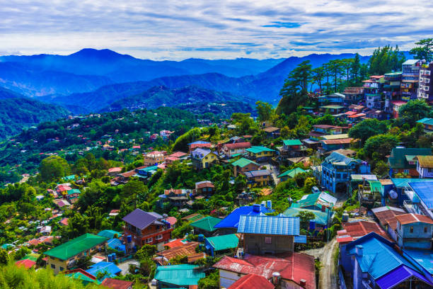 mountains of baguio city, philippines - baguio city stock photos and pictures
