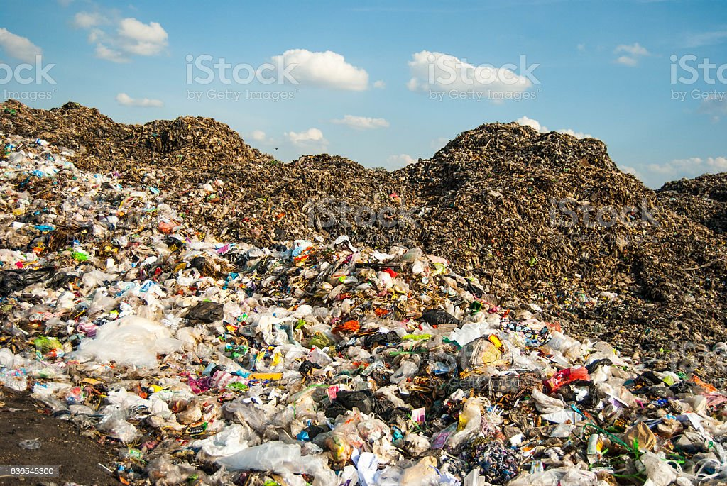 mountains of garbage stock photo