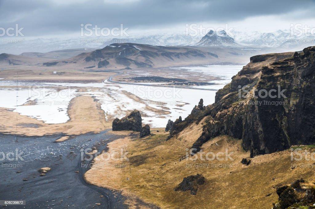 Mountains of Iceland, coastal landscape stock photo