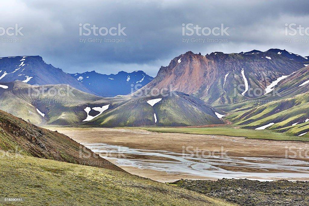 mountains of icelandic highlands stock photo