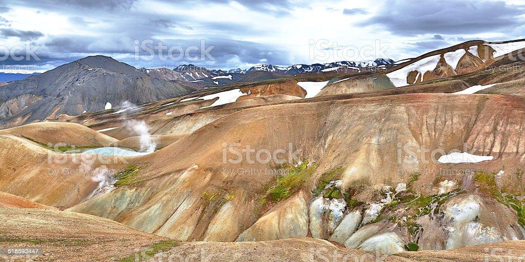 mountains of landmannalaugar stock photo