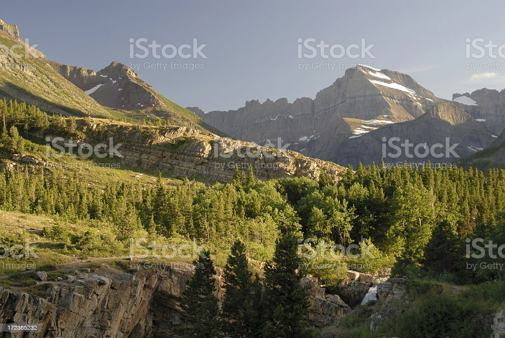 Mountains of Many Glaciers at Sunset royalty-free stock photo