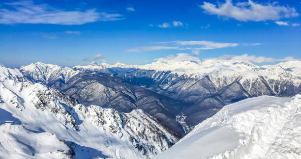Mountains of Sochi in winter. Snowy winter mountains. Clear sunny frosty day in the mountains. Mountains of Sochi in winter. Snowy winter mountains. Winter picture. Clear sunny frosty day in the mountains. sochi stock pictures, royalty-free photos & images