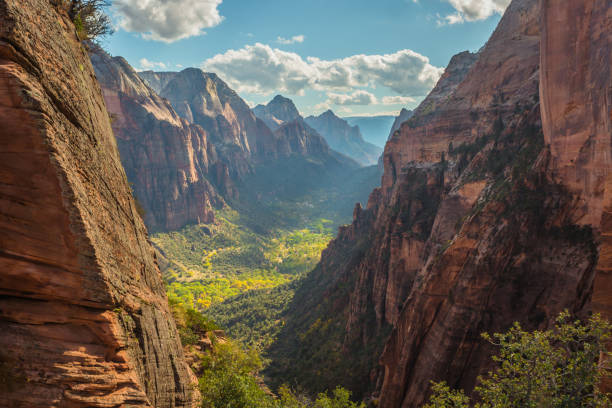 Mountains of Zion National Park, Angels Landing Peak, Utah, United States. Colorful, rocky valley with river and wavy roads, green forest and blue sky with clouds, photographed from cliff. Zion National Park, Angels Landing Peak, Utah, United States. zion national park stock pictures, royalty-free photos & images