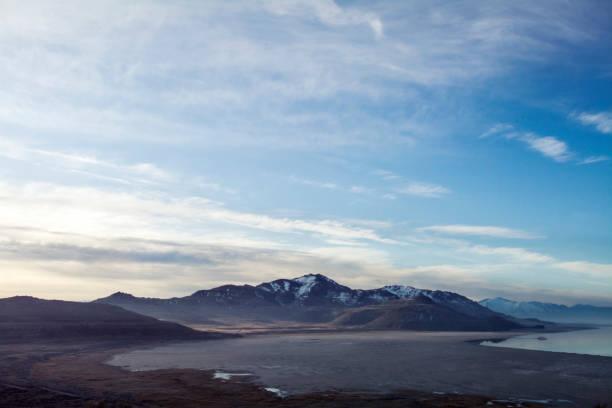 mountains on antelope island stock photo