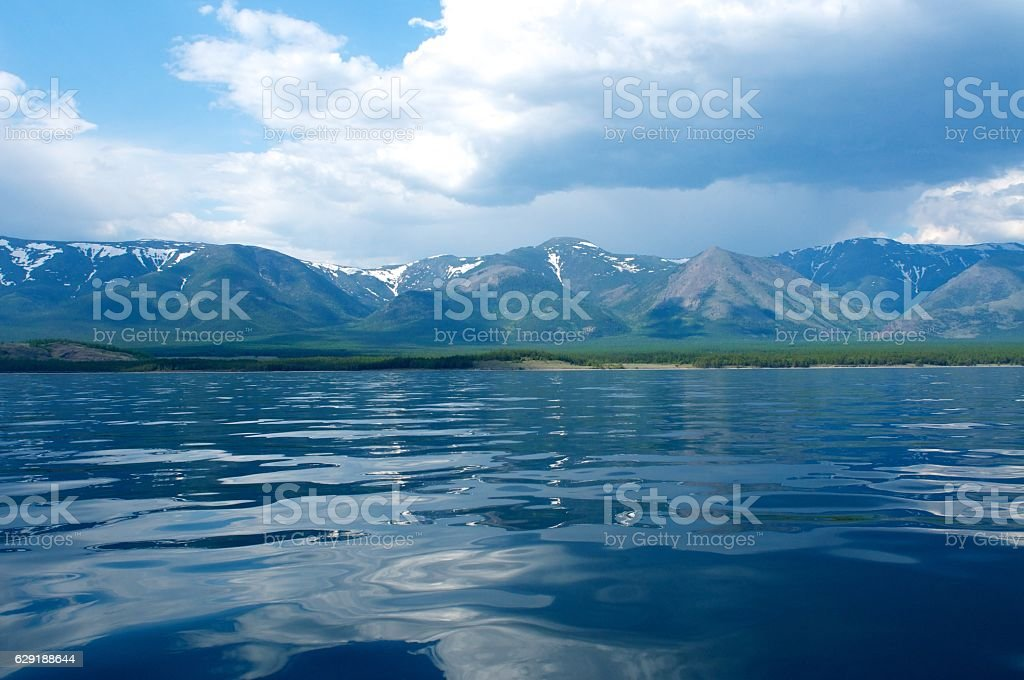 Mountains on the lake Baikal  a clear day, blue sky – Foto