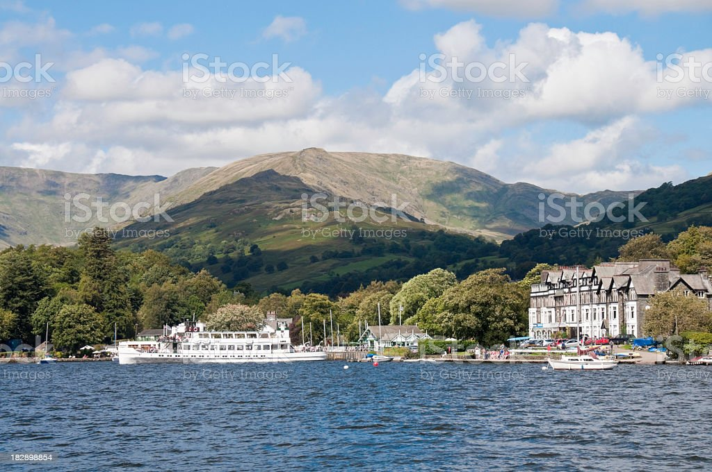 Mountains over Ambleside seen from across the water stock photo