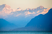 Mountains over Lake Geneva