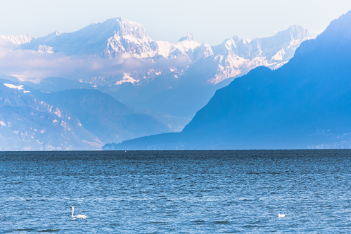 Mountains over Lake Geneva