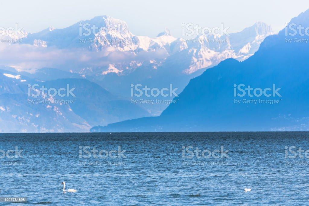 Berge auf den Genfer See – Foto
