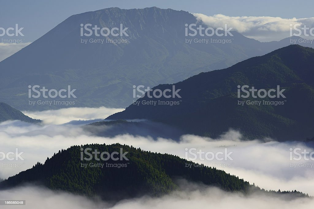Mountains over the cloud sea stock photo