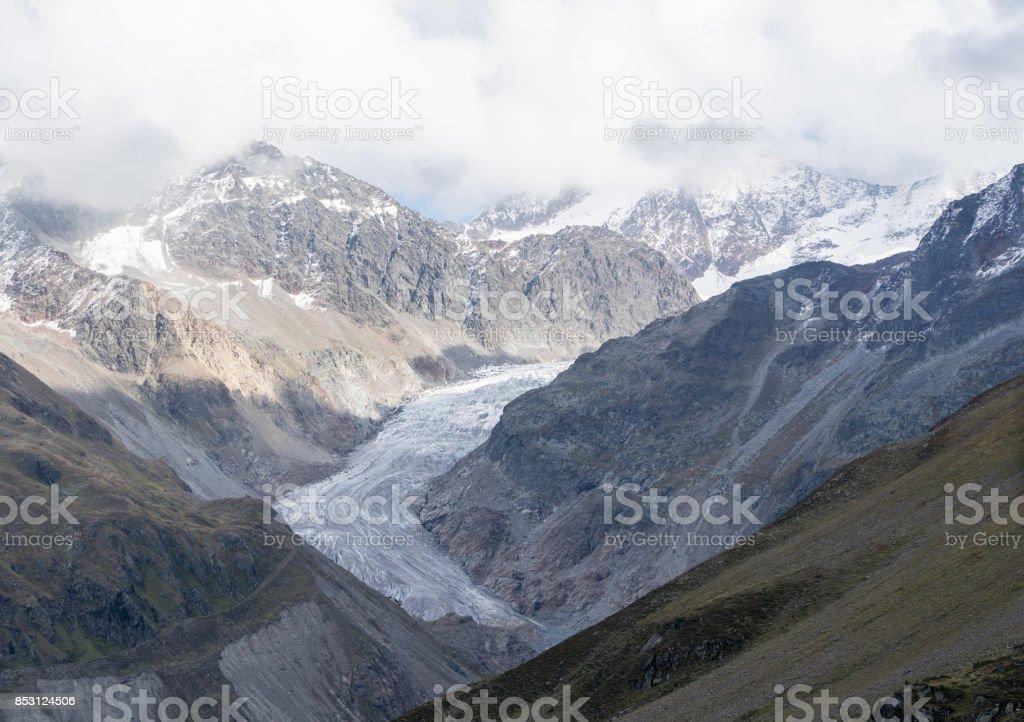 Mountains, peaks, everlasting ice and trees landscape. Kaunertaler Gletscher natural environment. Hiking in the alps, Kaunertal, Tirol, Austria, Europe stock photo