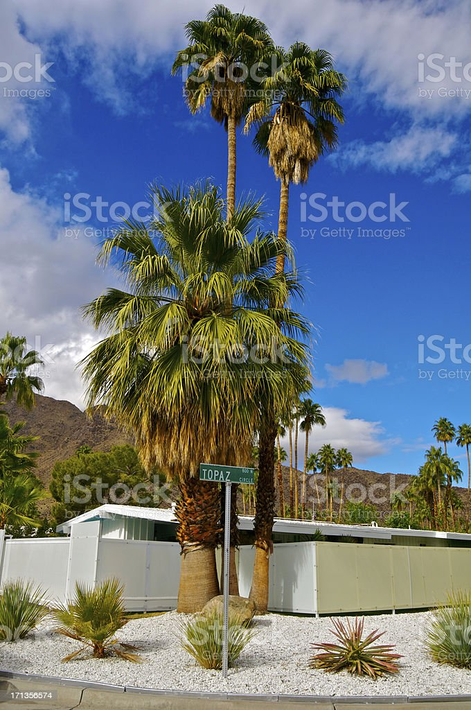 Mountains, plants & Mid-Century home in Palm Springs, California stock photo