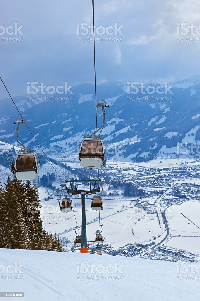 Mountains ski resort Zell-am-See Austria stock photo