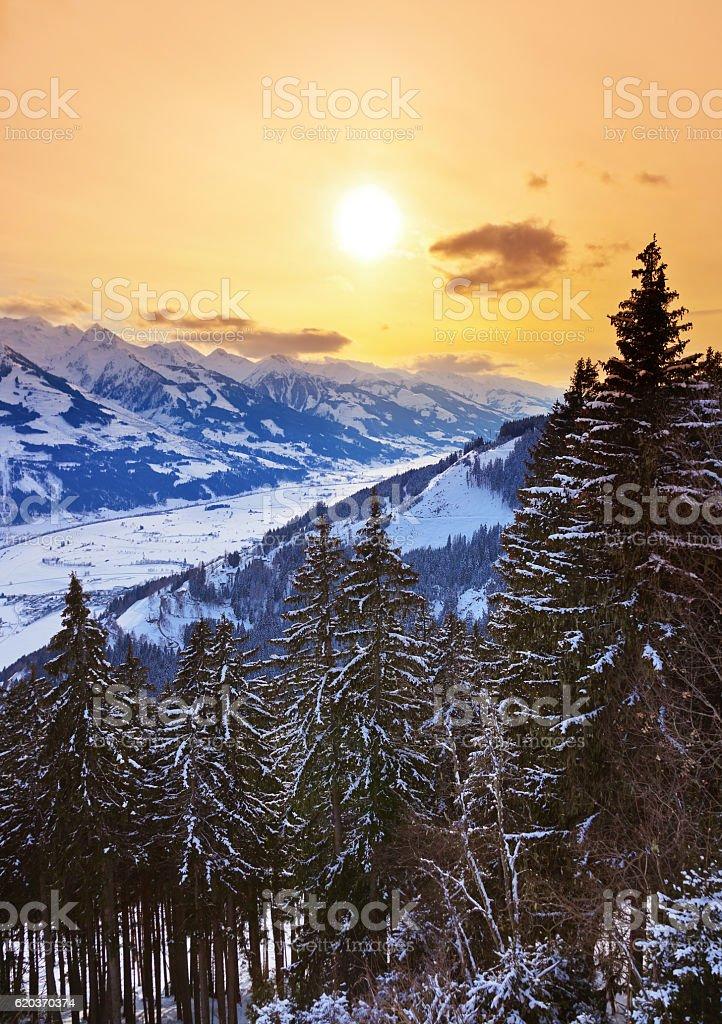 Góry ski resort Zell am Zobacz, Austria zbiór zdjęć royalty-free