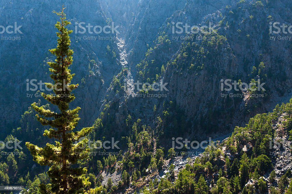 Mountains trail with blue sky. Samaria Gorge in Greece, Crete stock photo