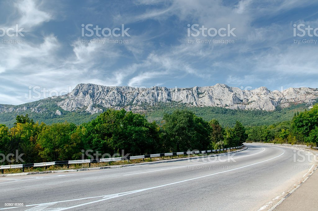 Mountains tree road in Crimea. Nature landscape stock photo