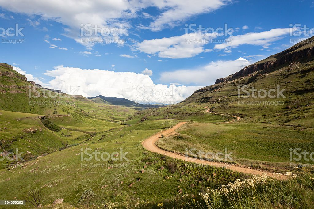 Mountains Valley Dirt Road stock photo
